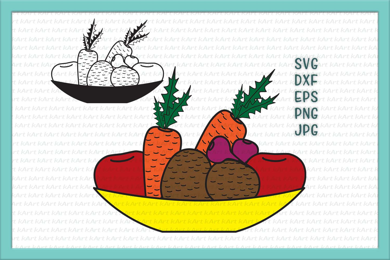 Bowl with vegetables svg dxf png clipart printable sample example image 1