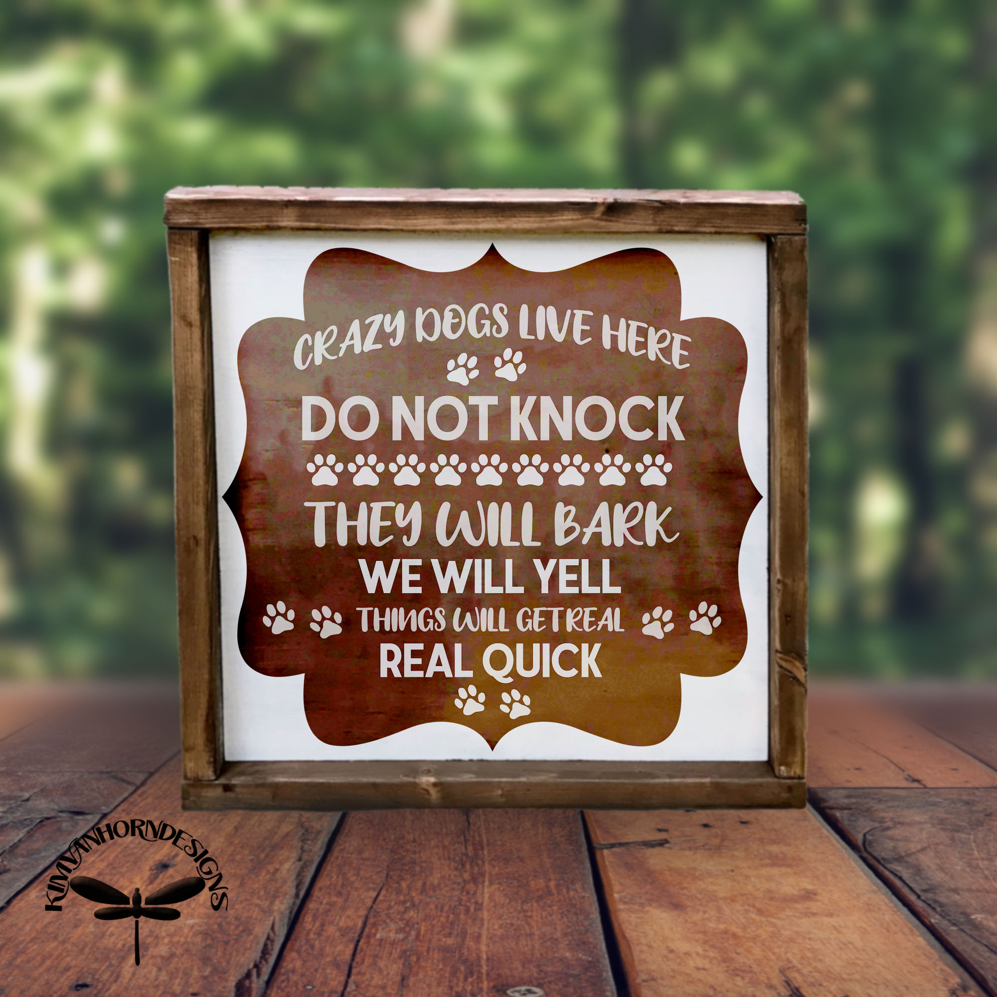 Crazy Dogs Front Door Sign SVG example image 3