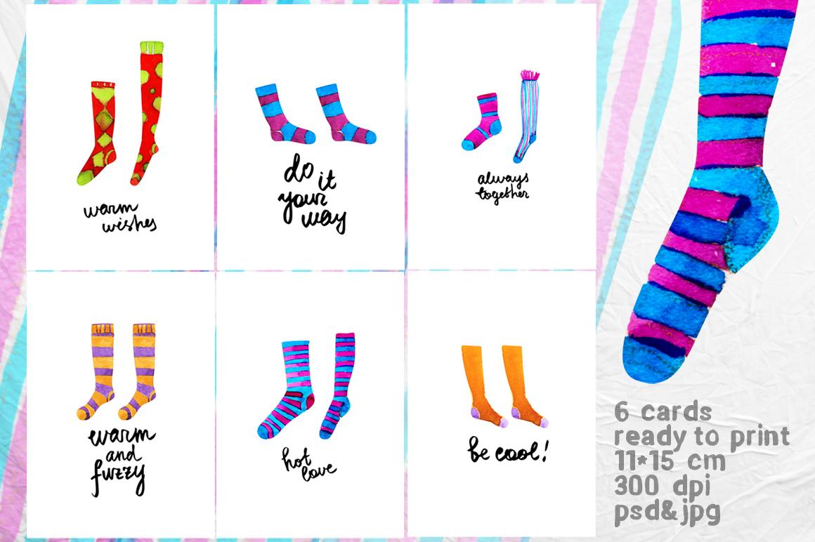 Watercolor socks set example image 3