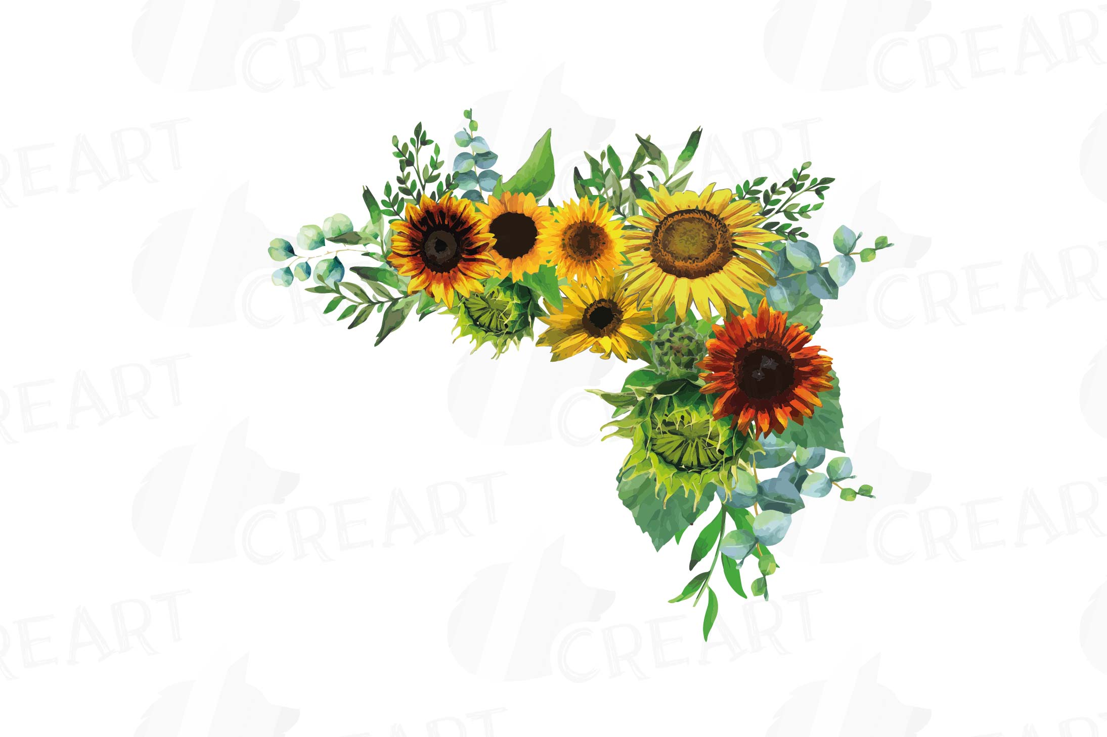 Watercolor sunflower bouquets and design elements example image 8