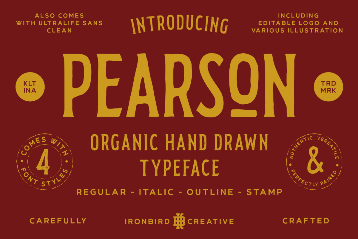 Pearson Typeface- 4 Fonts! & EXTRA example image 1