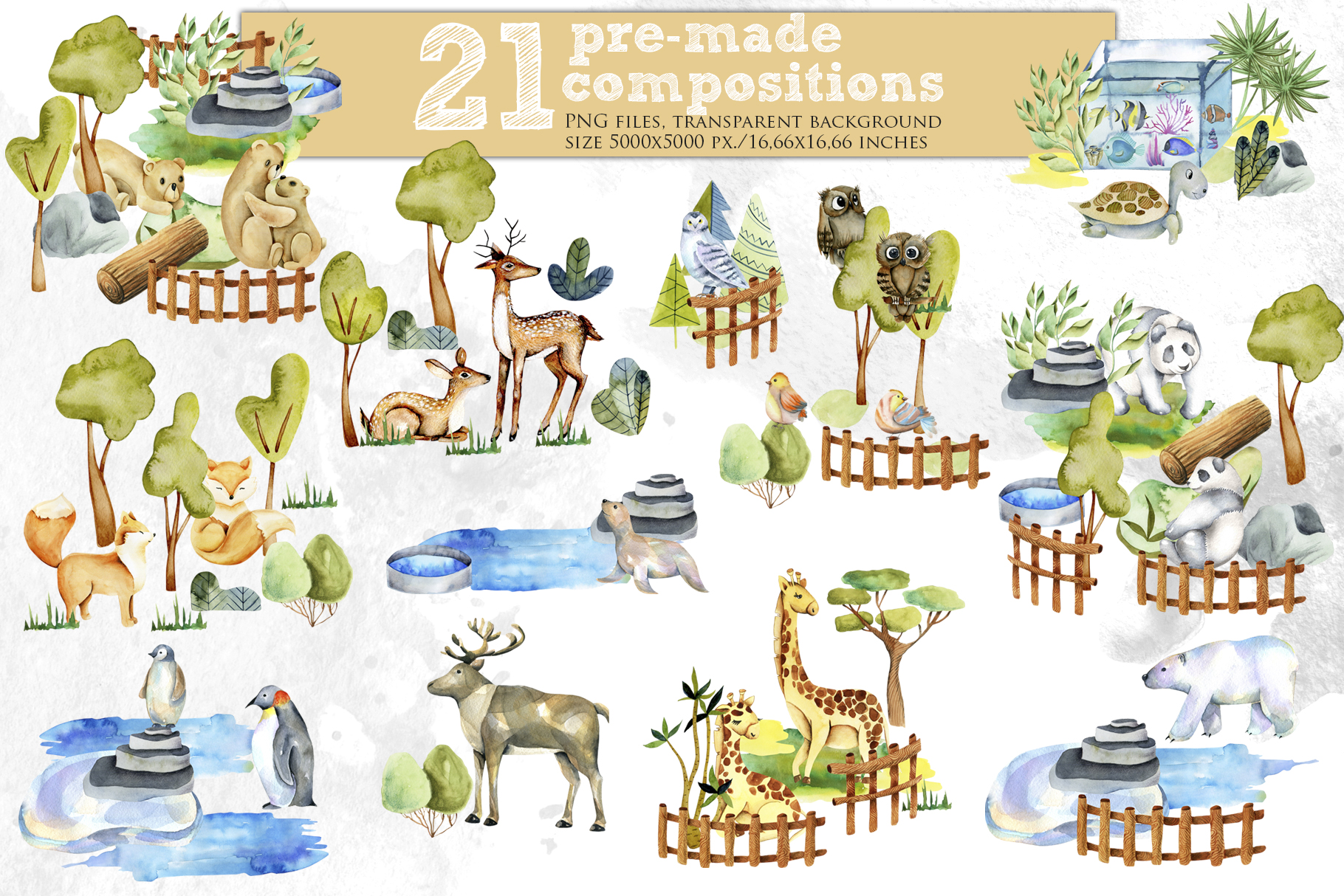 Zoo. Big watercolor collection. example image 7
