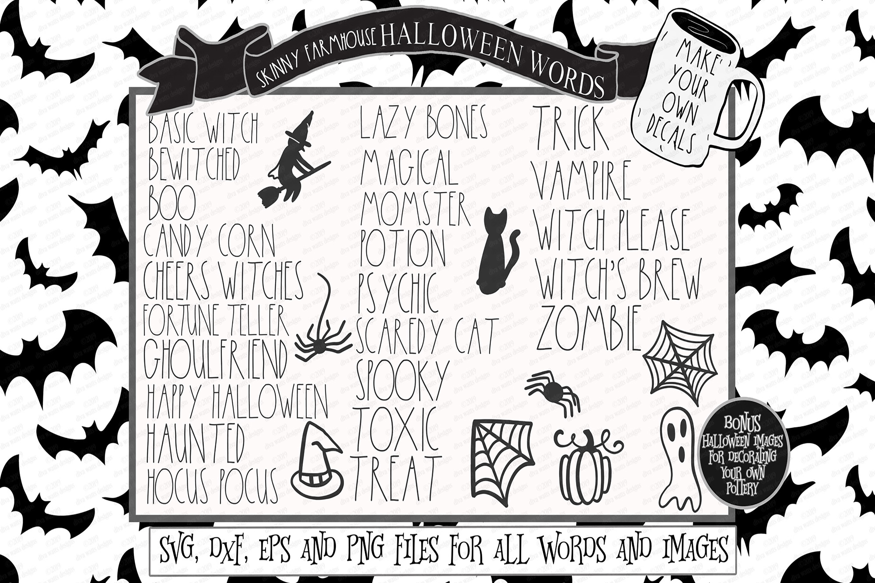 Skinny Farmhouse Halloween Words for Decals Cutting Files example image 1