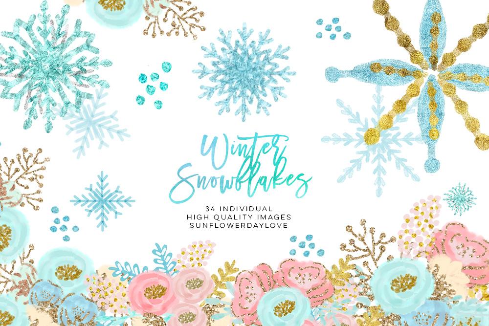 winter wonderland clip art, glitter snowflakes clip art example image 1