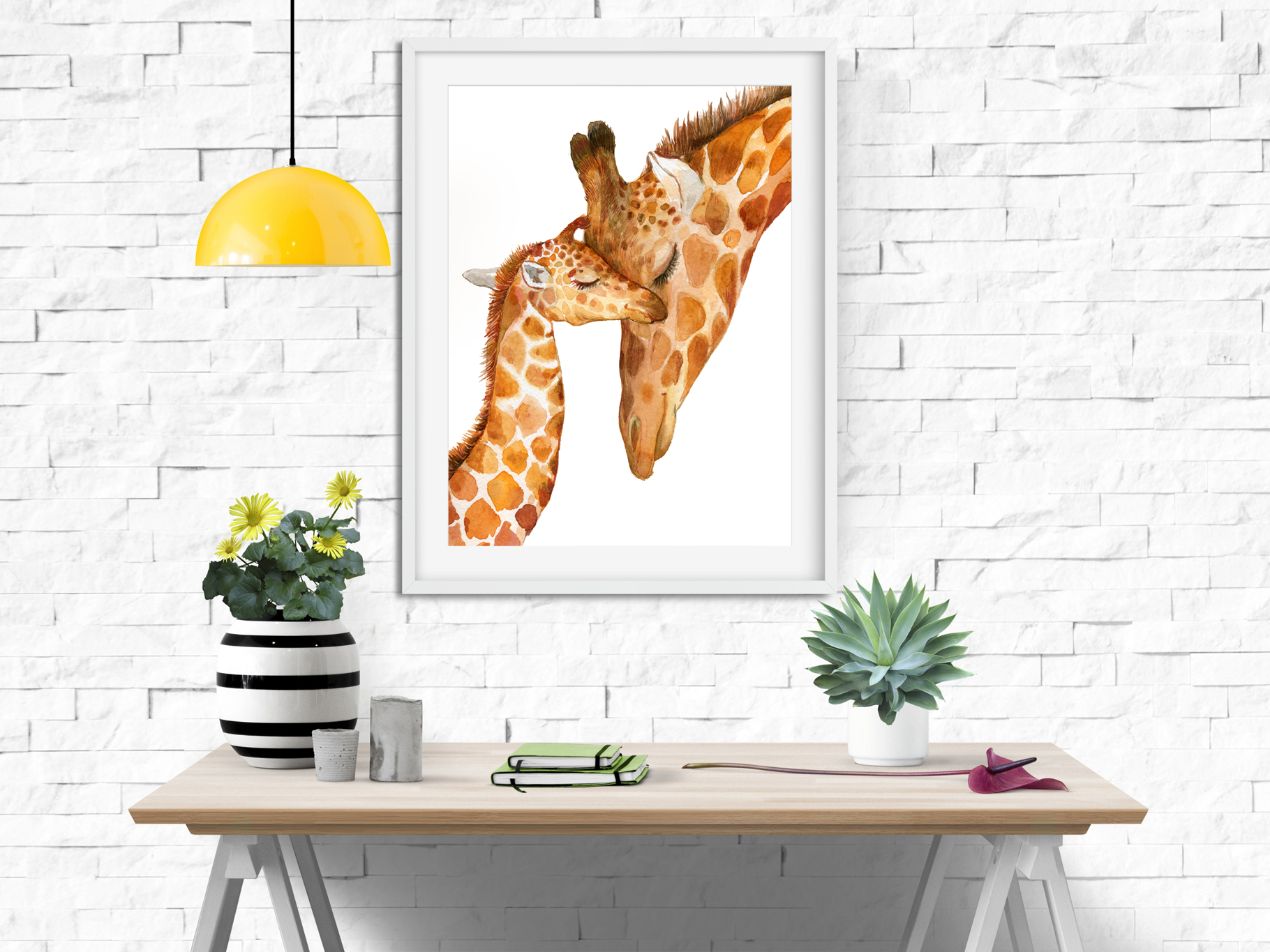 Giraffes. watercolor illustrations example image 5