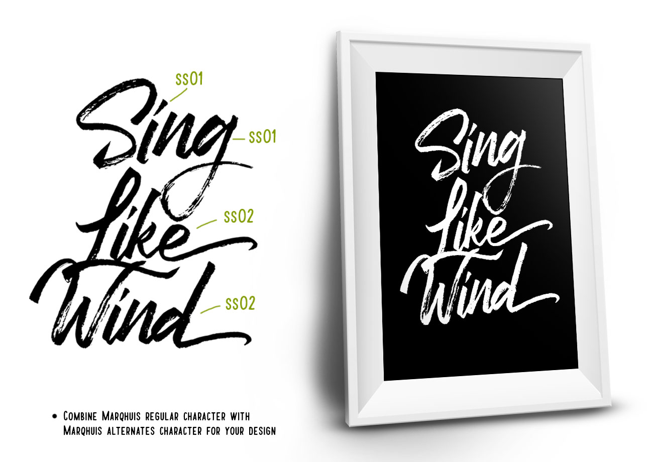 Marqhuis Brush font example image 2