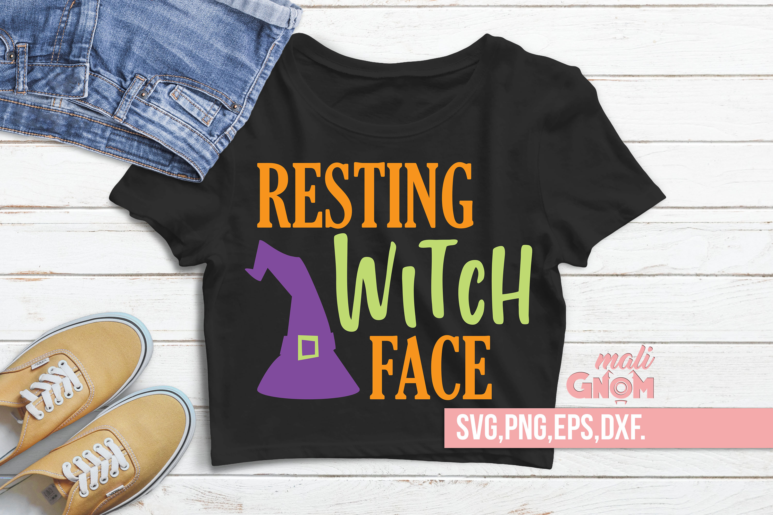 Resting Witch Face SVG, Halloween SVG file, Trick or Treat example image 2