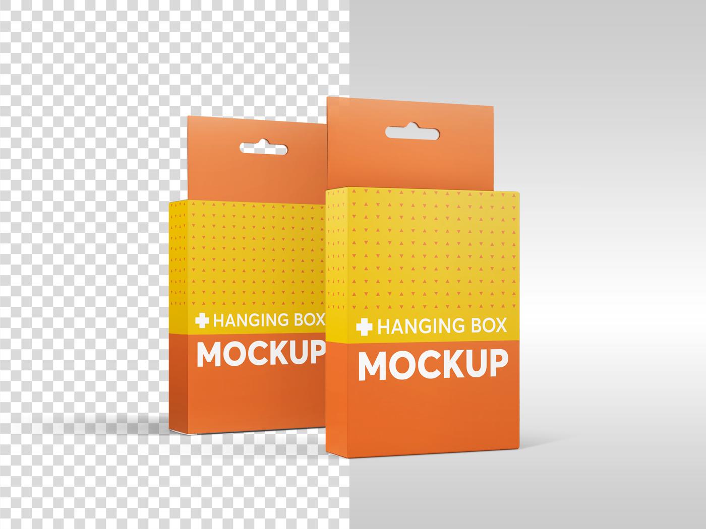 Flat Rectangle Box with Hanger Mockup example image 11