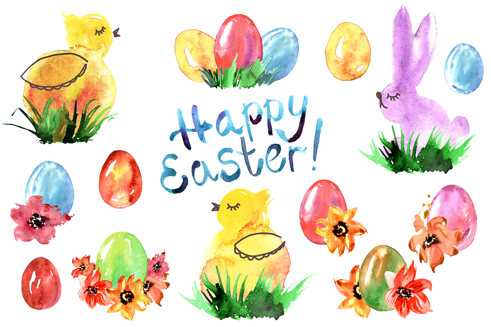 Watercolor Happy Easter example image 3