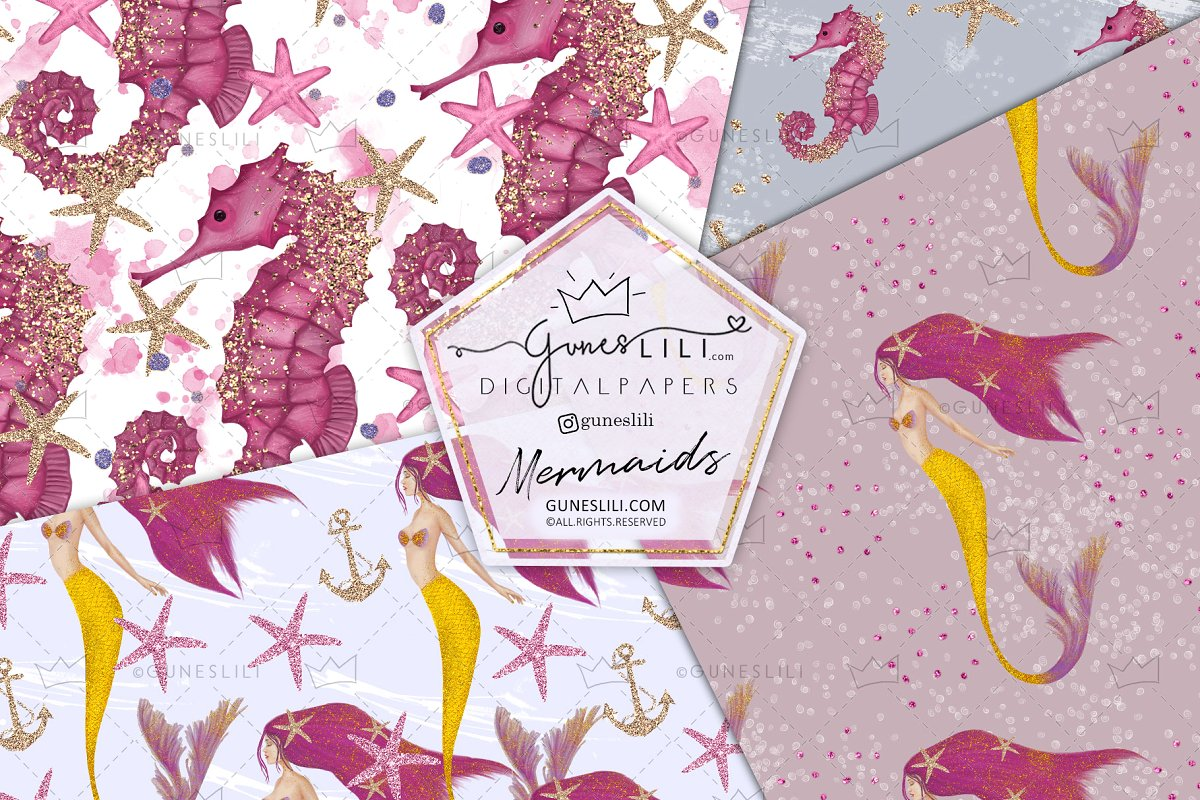 Pink Mermaids Digital Paper Seamless Pattern example image 3