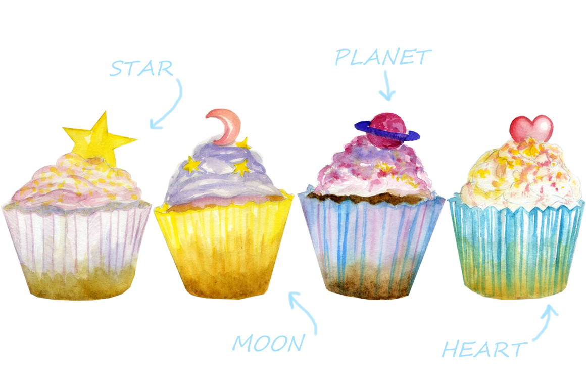watercolor sweet cakes example image 2
