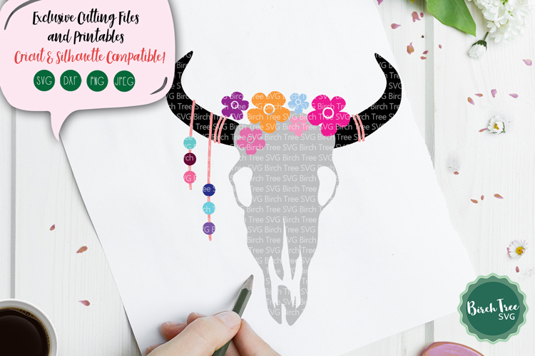 Floral Cow Skull SVG, Floral Svg, Floral Cow Skull Cut File example image 1