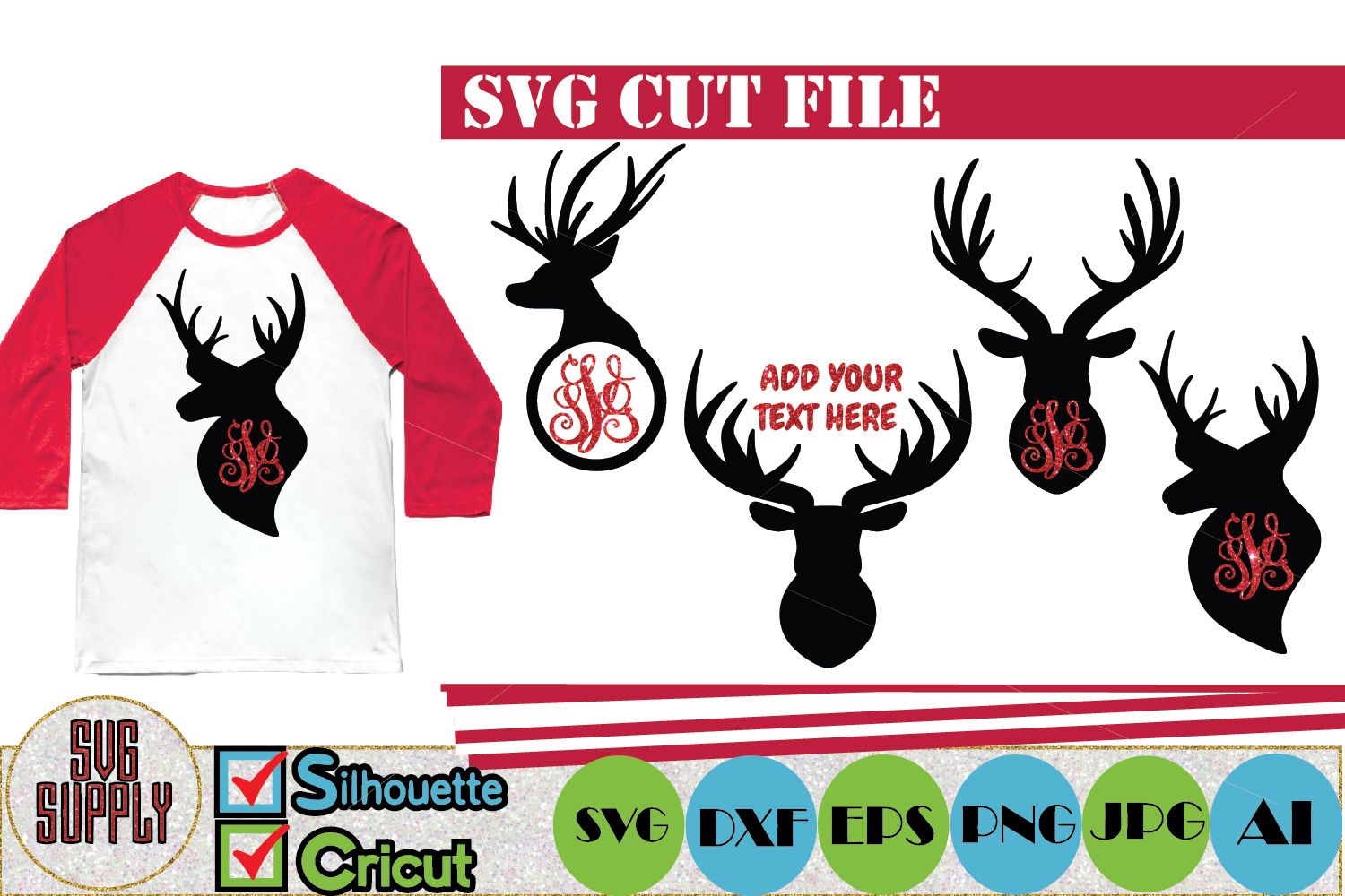 Reindeer Monogram SVG Cut File example image 1