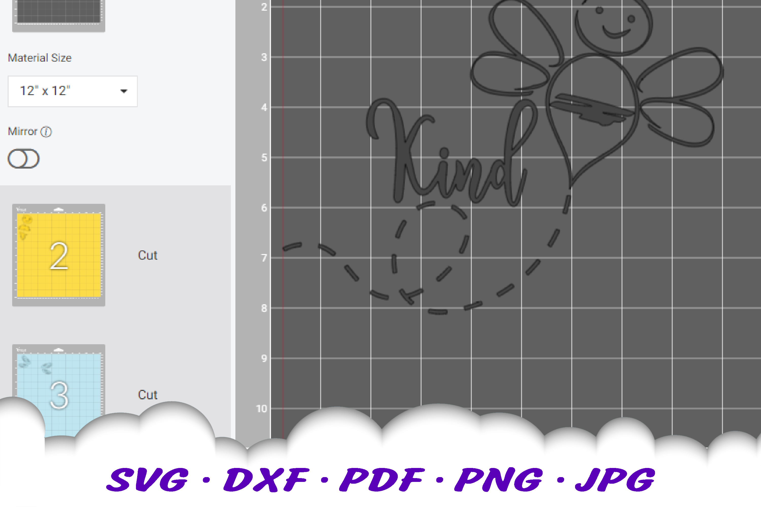 Hand Drawn Be Kind Bumble Bee SVG DXF Cut Files example image 3