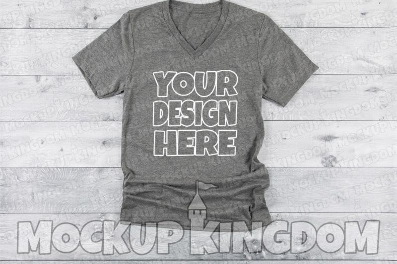 Unisex V-Neck Shirt Mockup, Bella Canvas Mockup example image 1