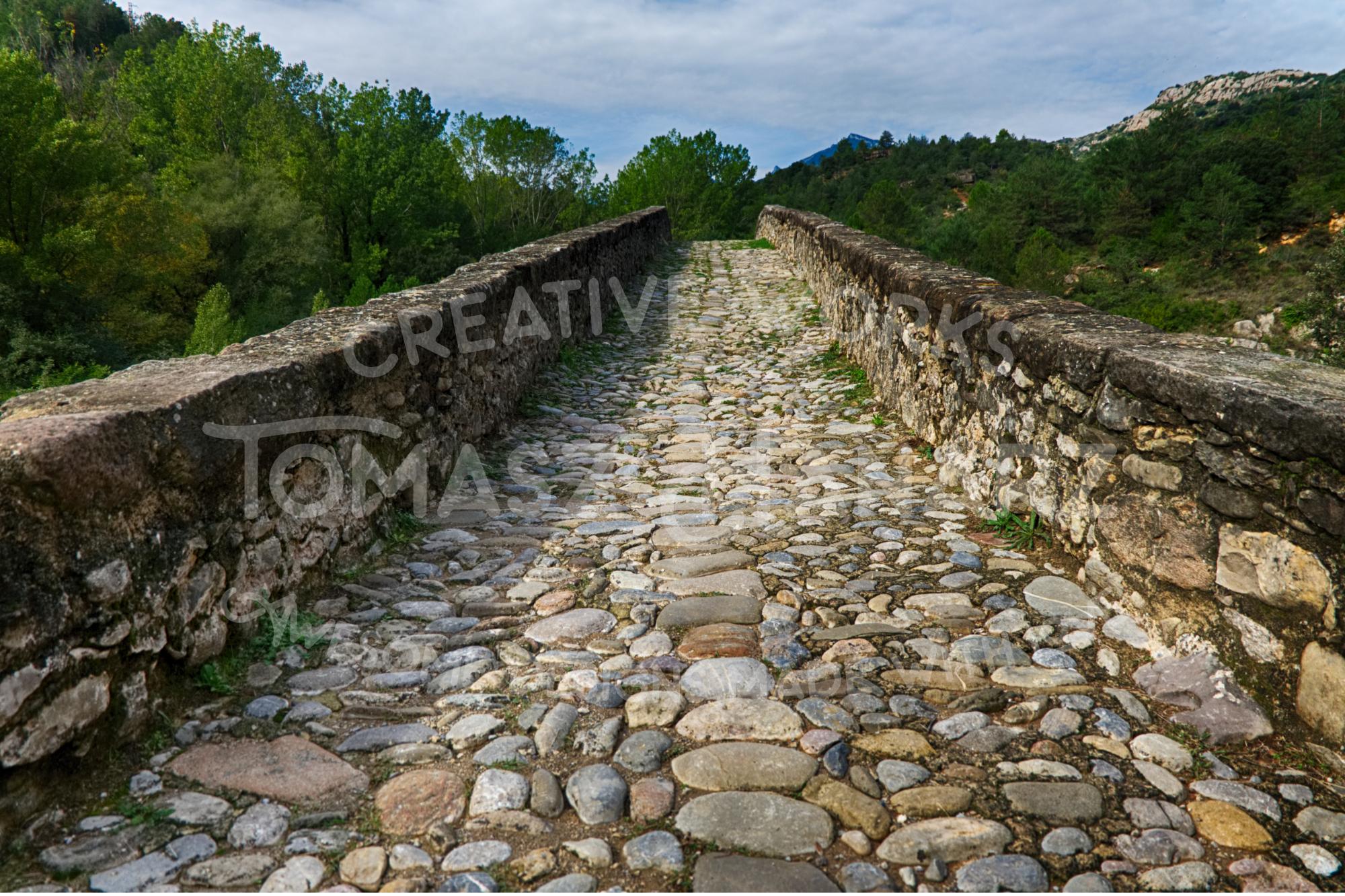 Gothic Stone Bridge Over The River Llobregat 4 example image 1