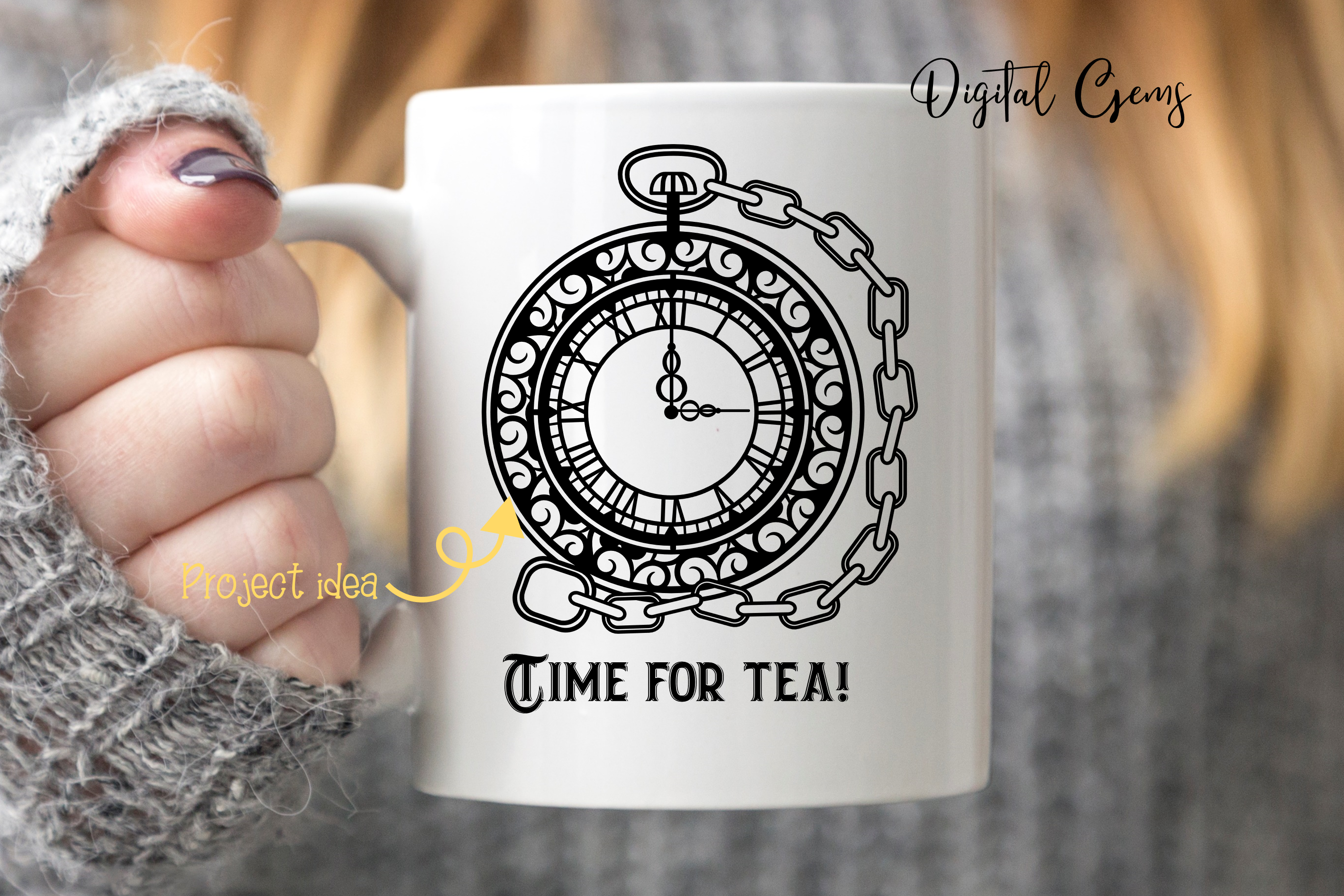 Pocket watch papercut design SVG / EPS / DXF / PNG Files example image 3