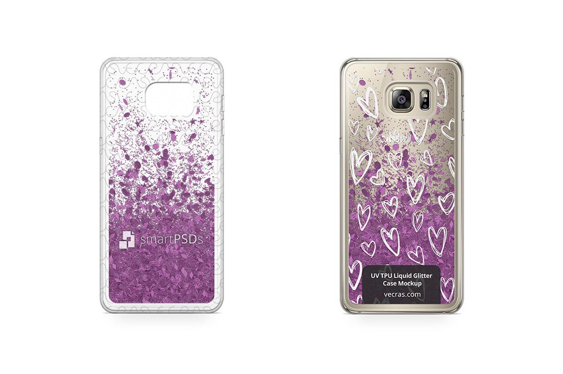 Galaxy S6 Edge Plus UV TPU Liquid Glitter Case Mockup example image 1