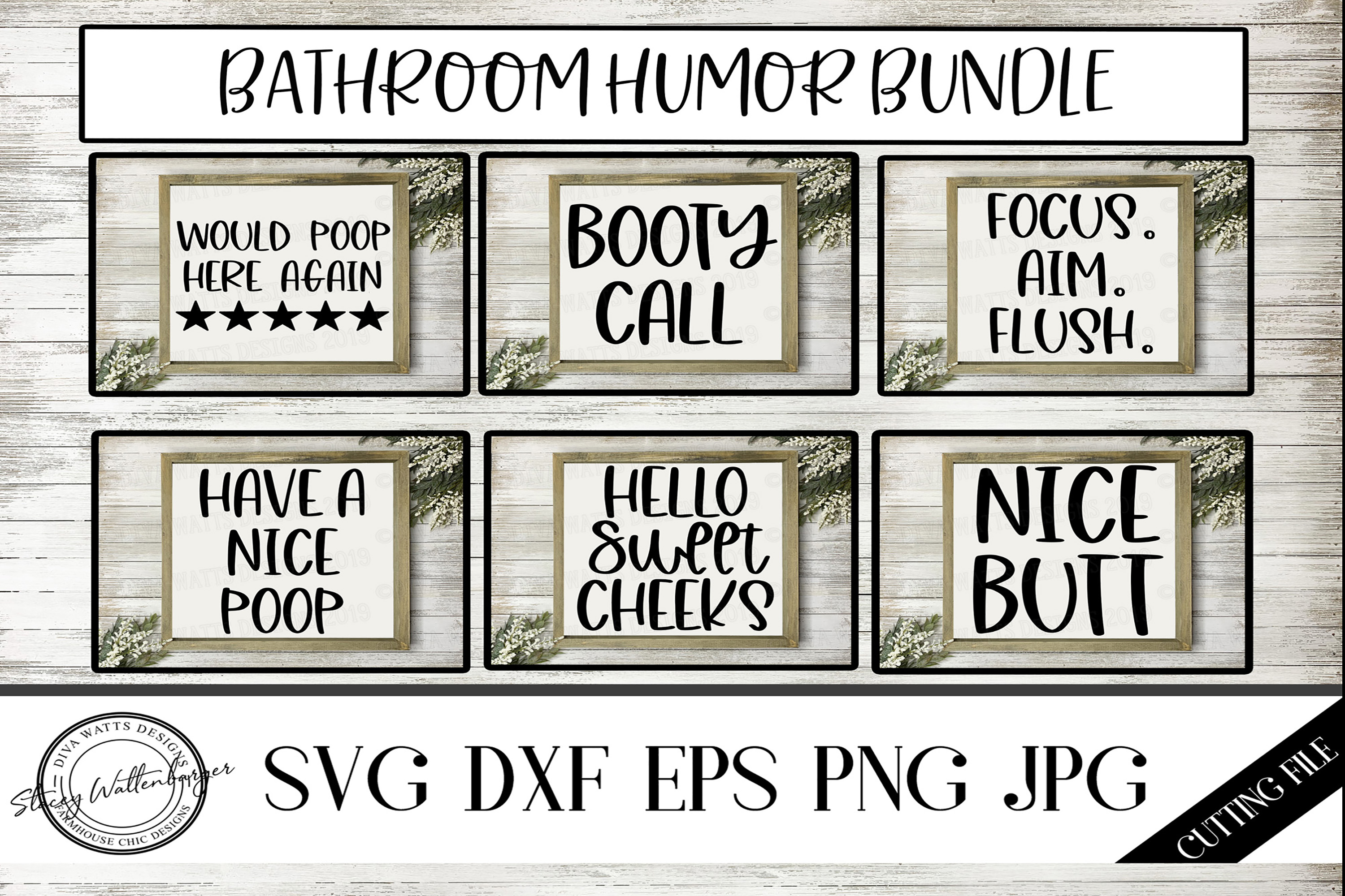 Bathroom Humor Bundle of 6 Cutting Files for Signs example image 1