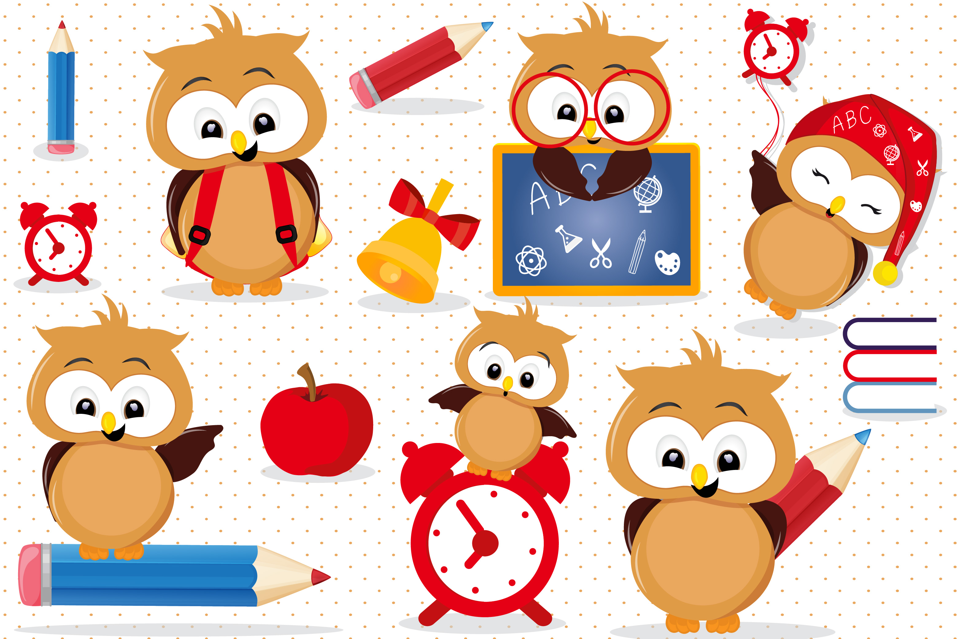 Back to school Owls clipart, Back to school Owls graphics