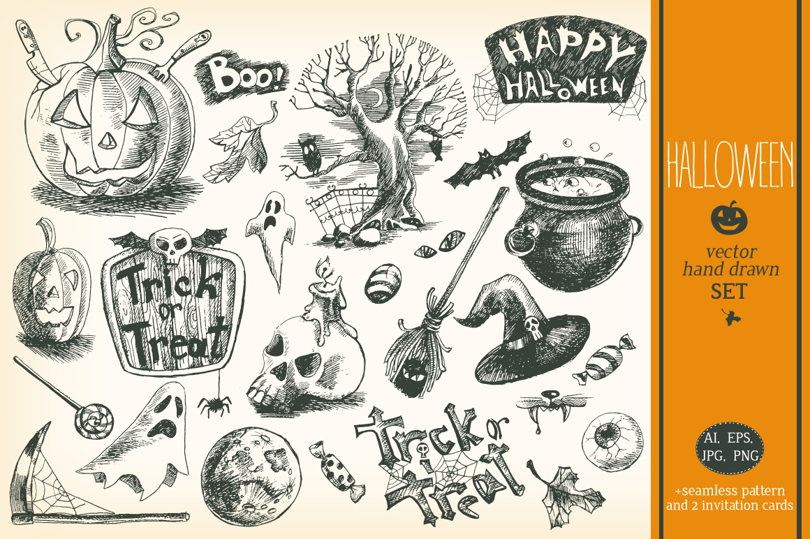 Hand drawn vector Halloween set example image 1