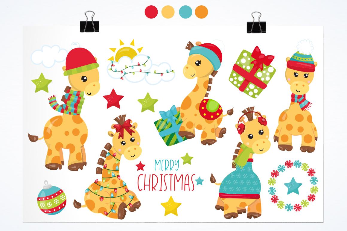 Christmas Giraffes graphics and illustrations example image 2