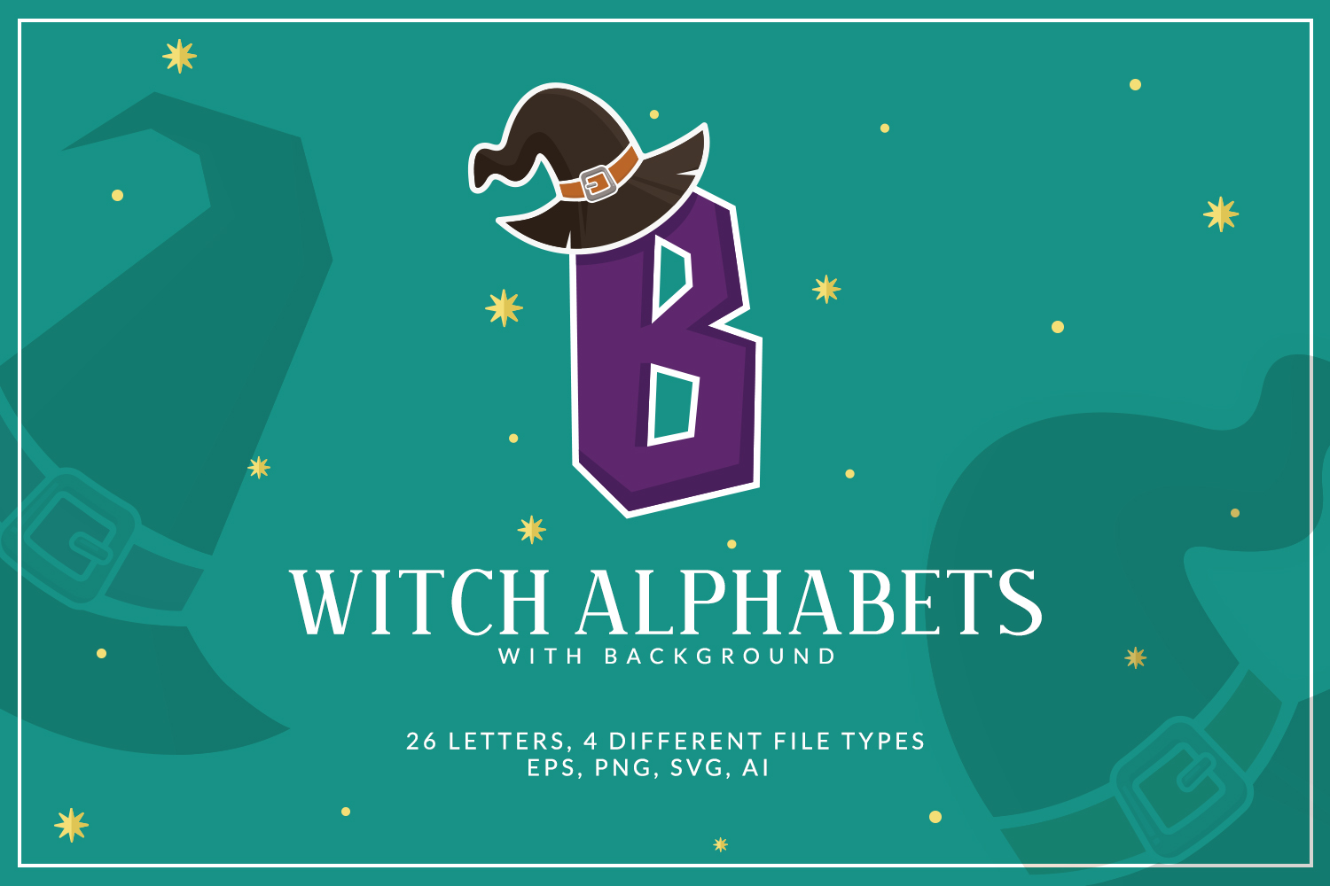 Witch Alphabets with Background example image 1