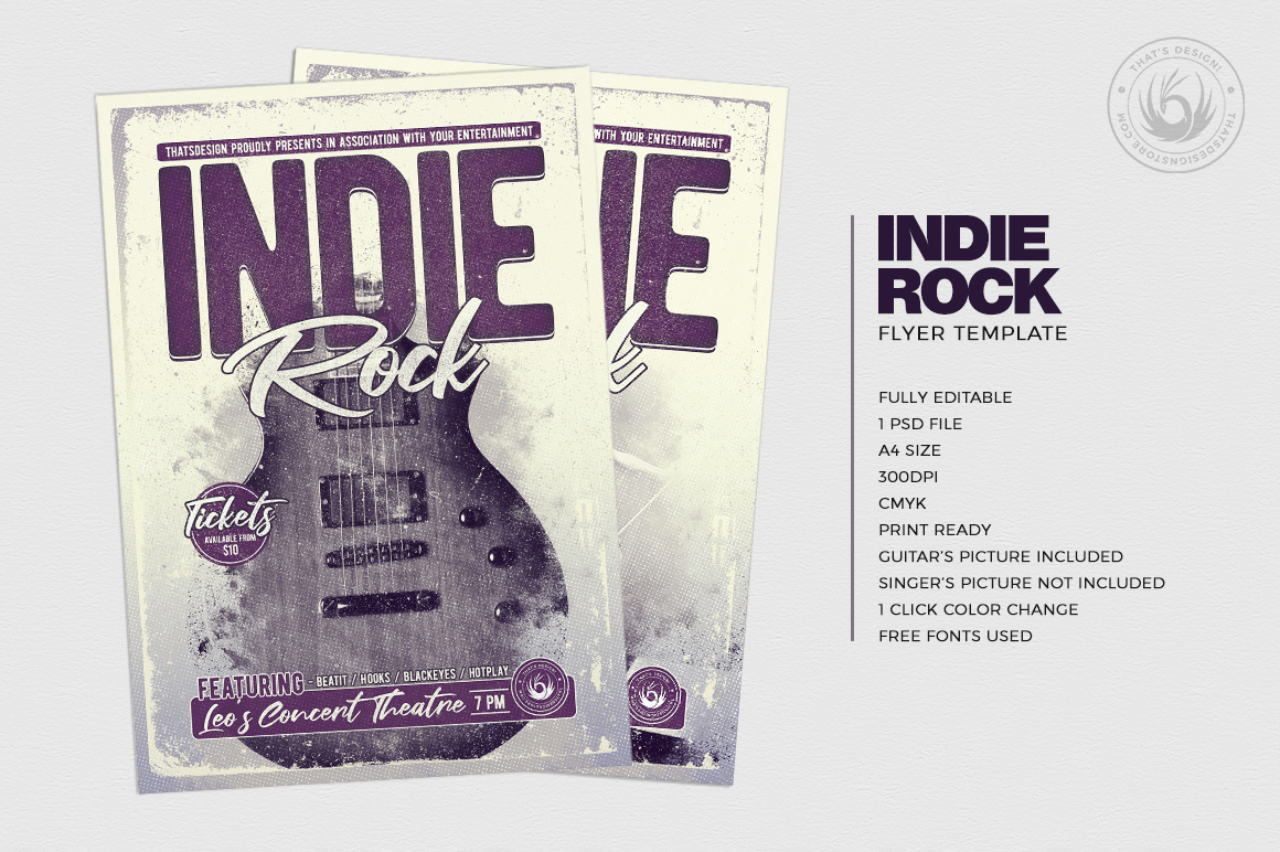 Indie Rock Flyer Template V3 example image 2