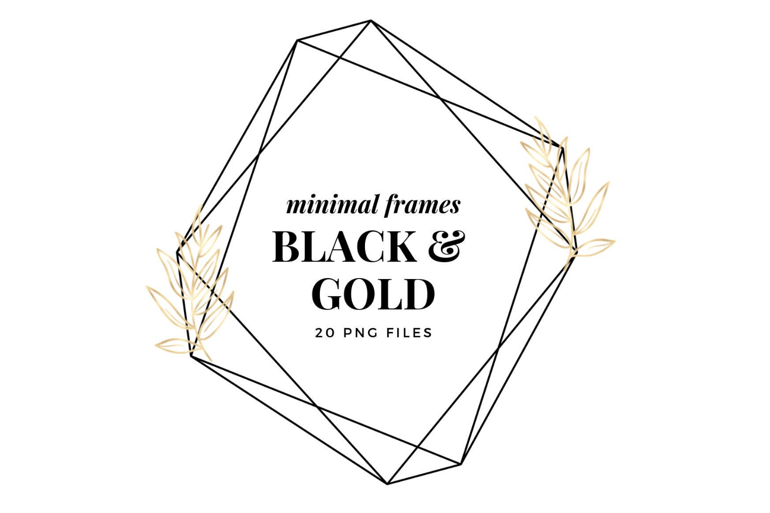 Minimal Geometric Frames, Gold Frames Cliparts example image 1