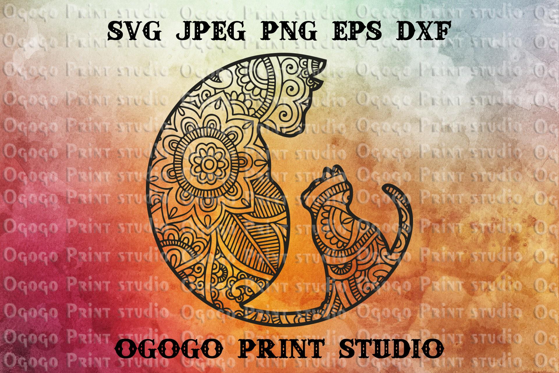 Cat SVG, Mandala svg, Zentangle SVG, Kitten svg, Cricut file example image 1