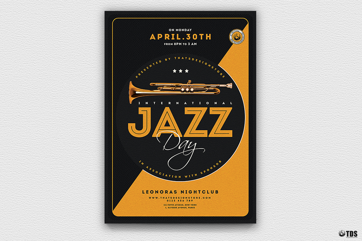 Jazz Day Flyer Template V3 example image 2