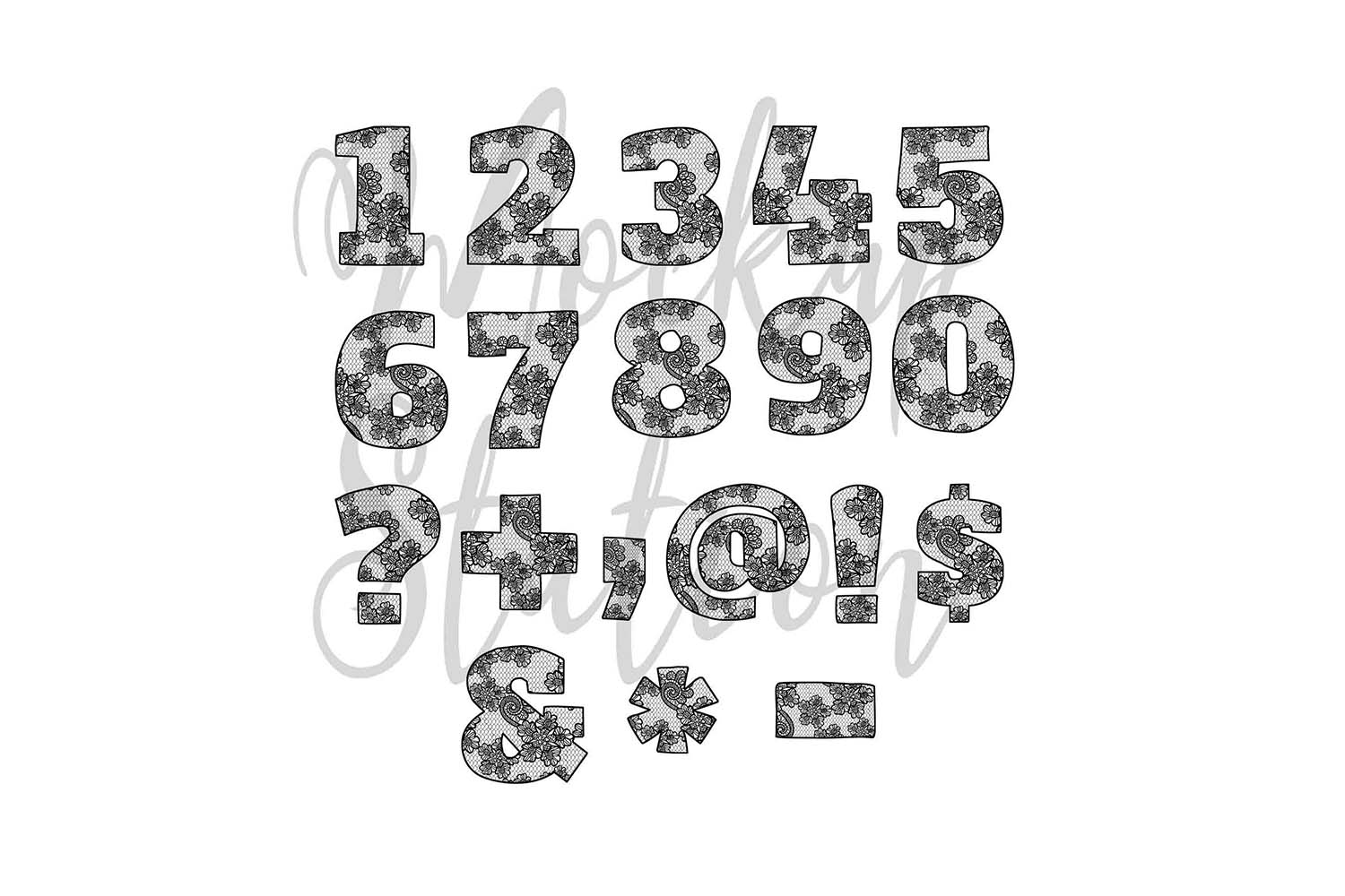 Sublimation Letters Design, Lace Font Alphabet And Numbers example image 3