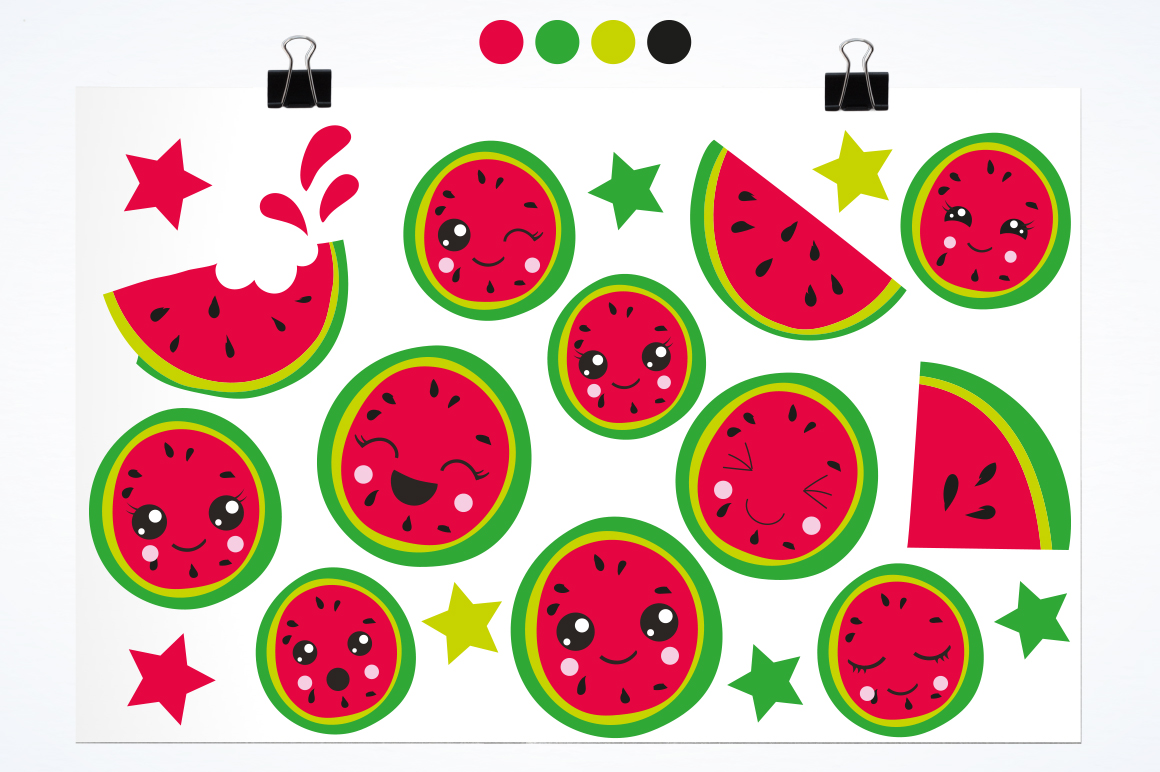 Kawaii Watermelons graphic and illustrations example image 3