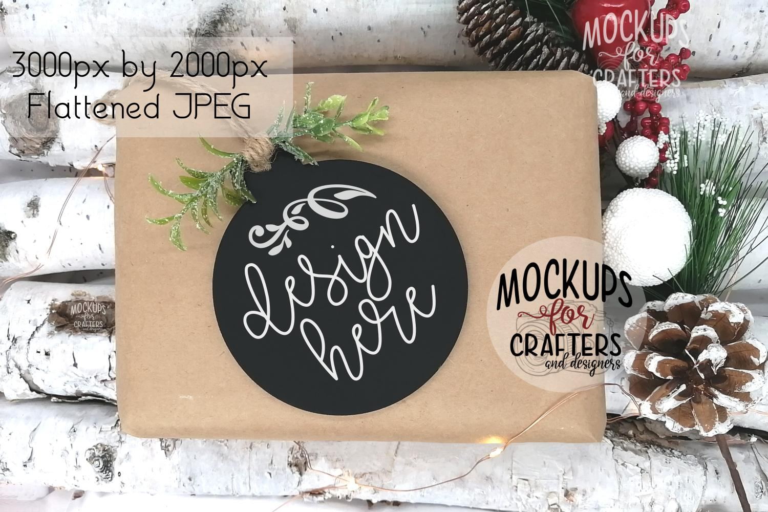 Ornament, Gift Tag, Black Round, MOCK-UP example image 1