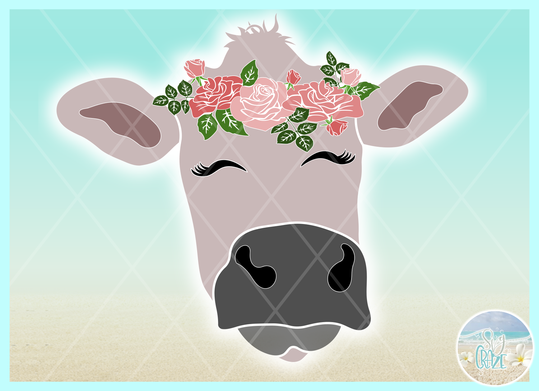 Cow Face With Roses Svg Dxf Eps Png Pdf Files example image 2