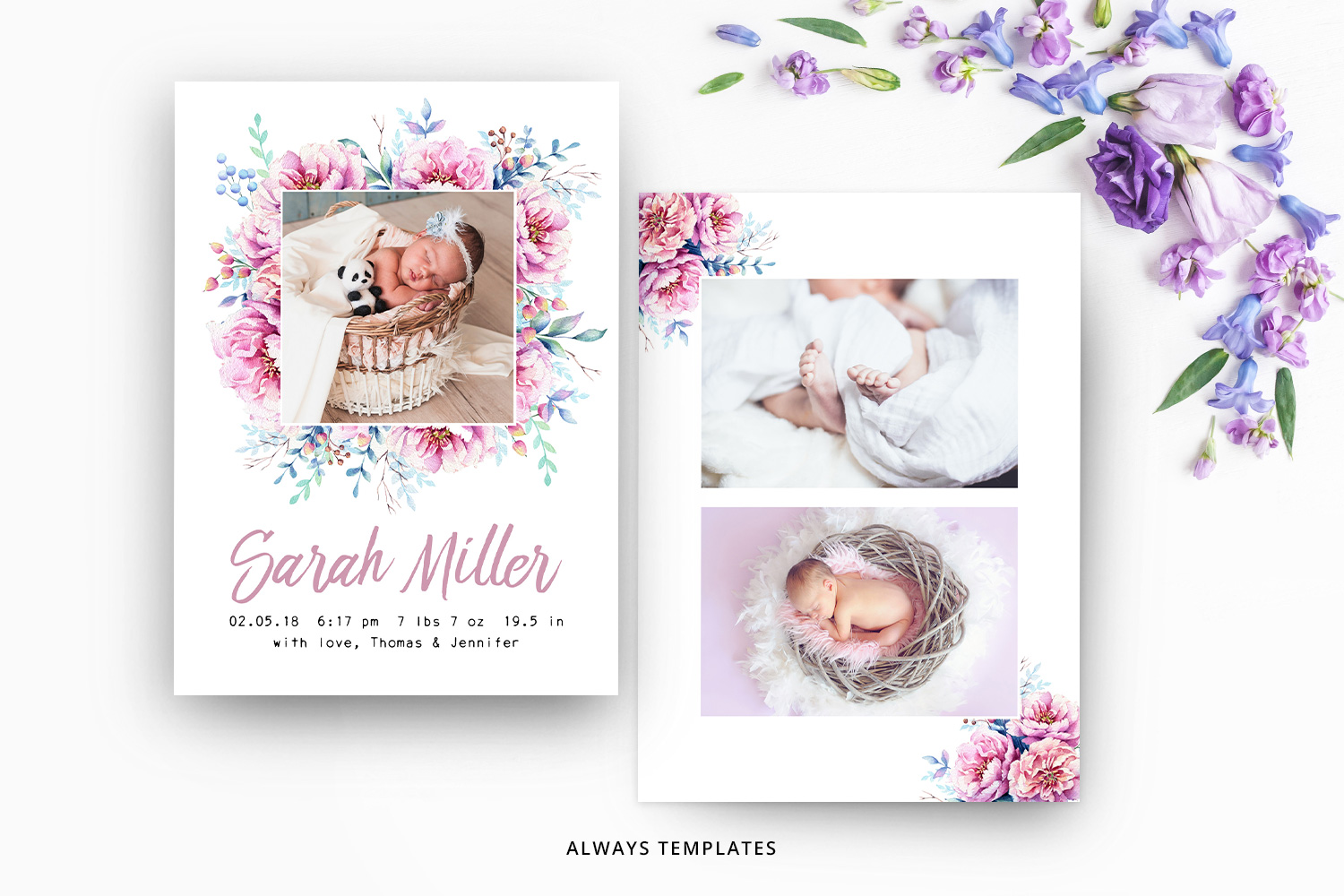 Birth Announcement Template BA003 example image 1