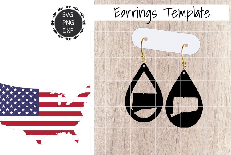Earrings Template - Connecticut Teardrop Earrings Svg example image 1