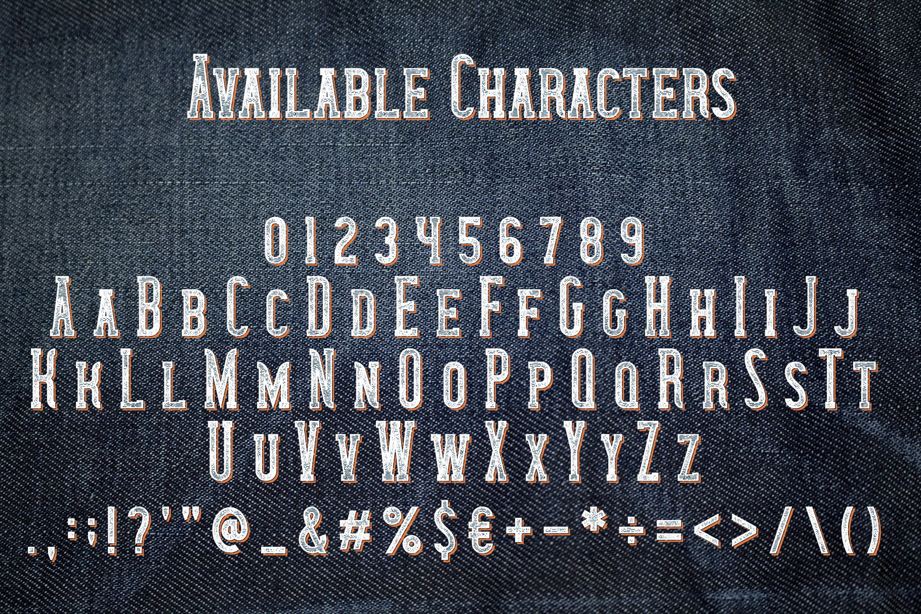 Wanted Denim layered font example image 2