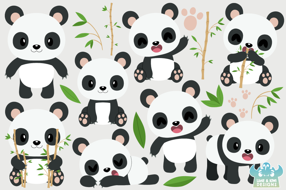 Cute Pandas Clipart, Instant Download Vector Art example image 2