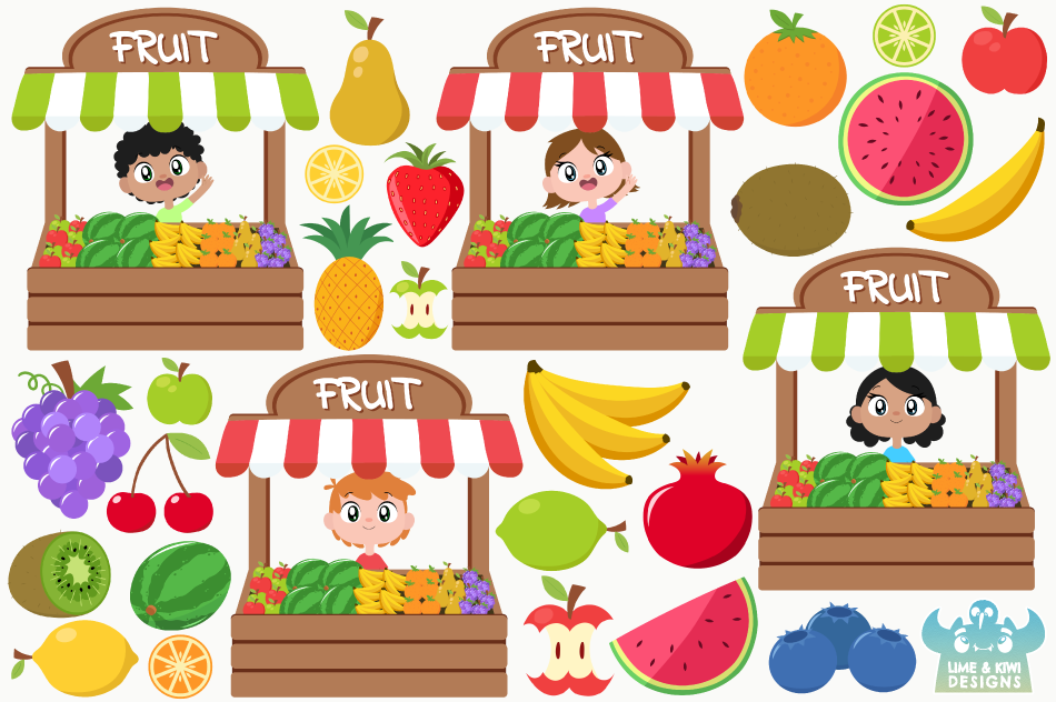 Fruit Stall Clipart, Instant Download Vector Art example image 2