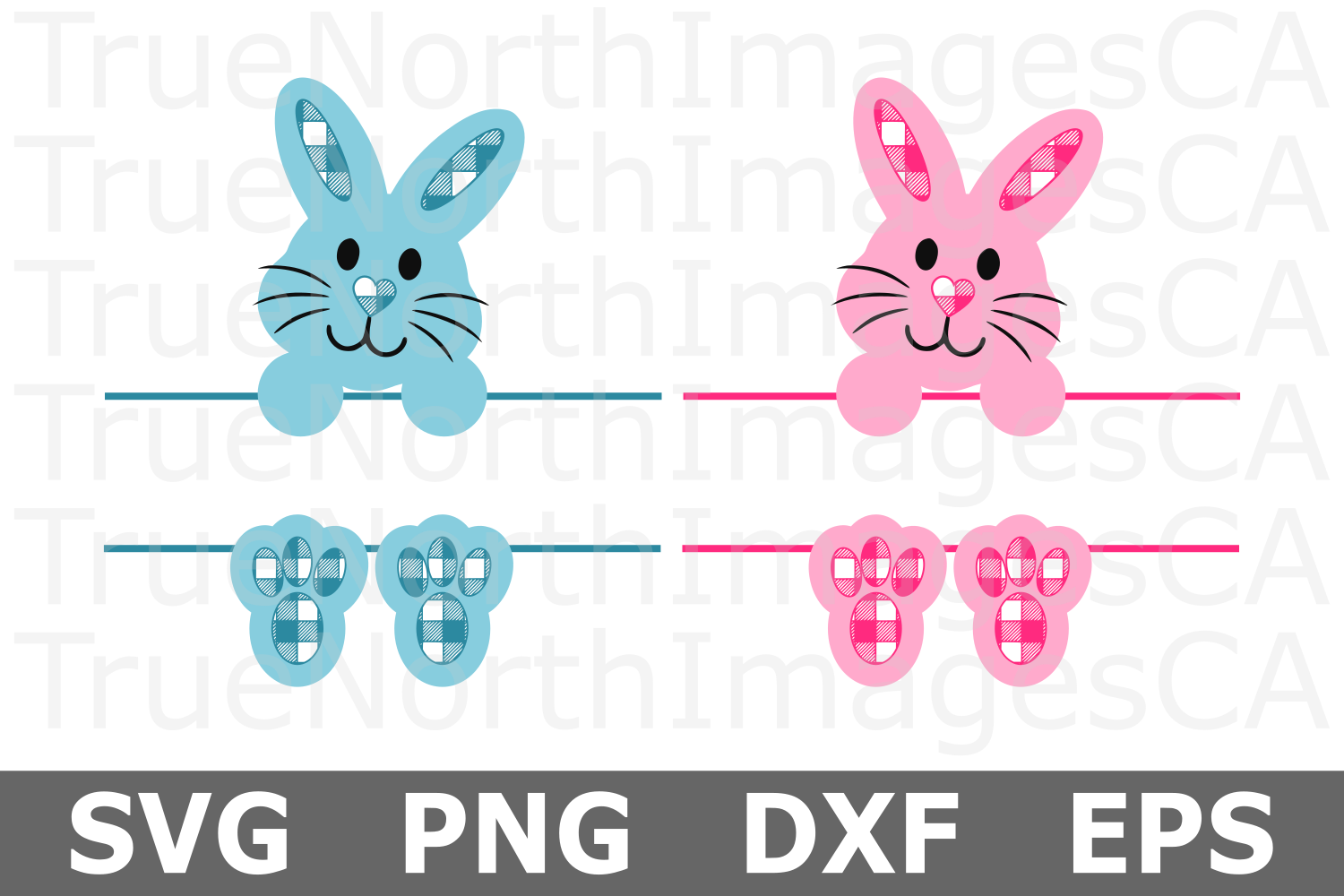Plaid Bunny Monogram - An Easter SVG Cut File example image 1