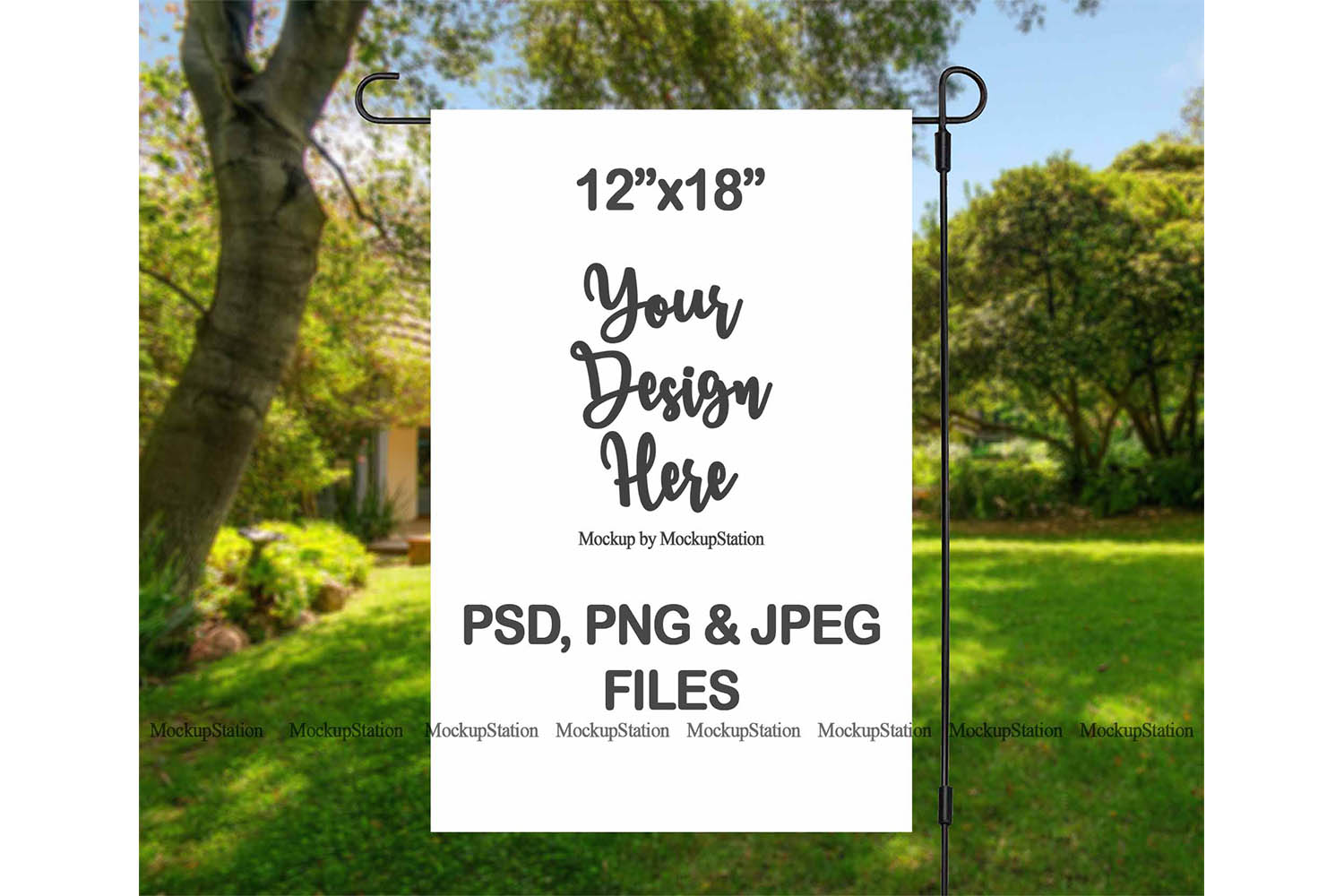 Garden Flag Mockup PSD File, Add Your Own Image/Background example image 2