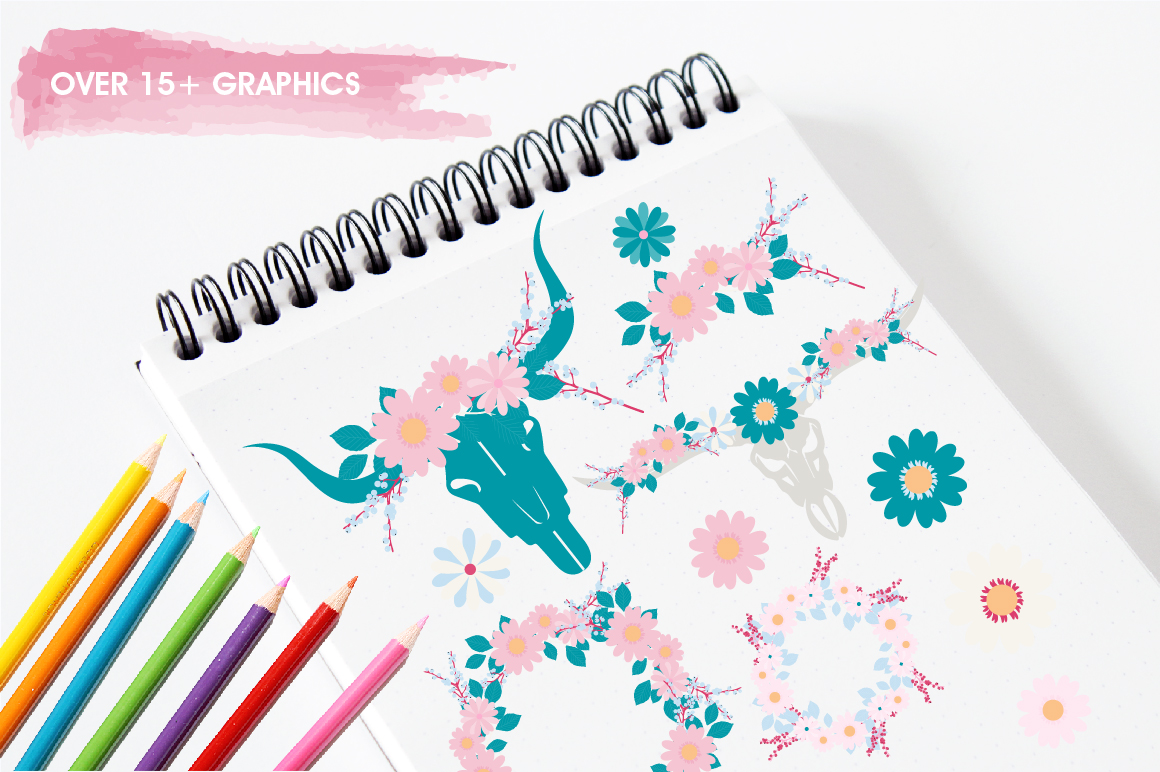 Boho Florals graphics and illustrations example image 3