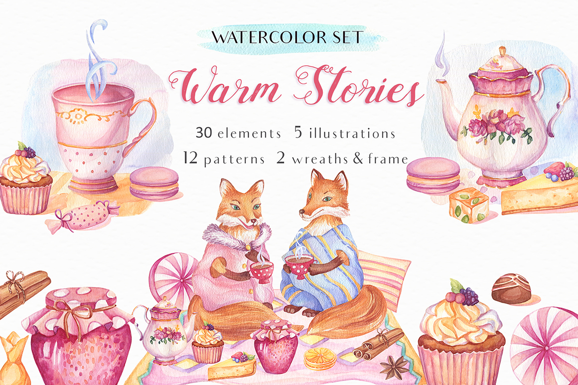 Warm Stories - Watercolor Set example image 1