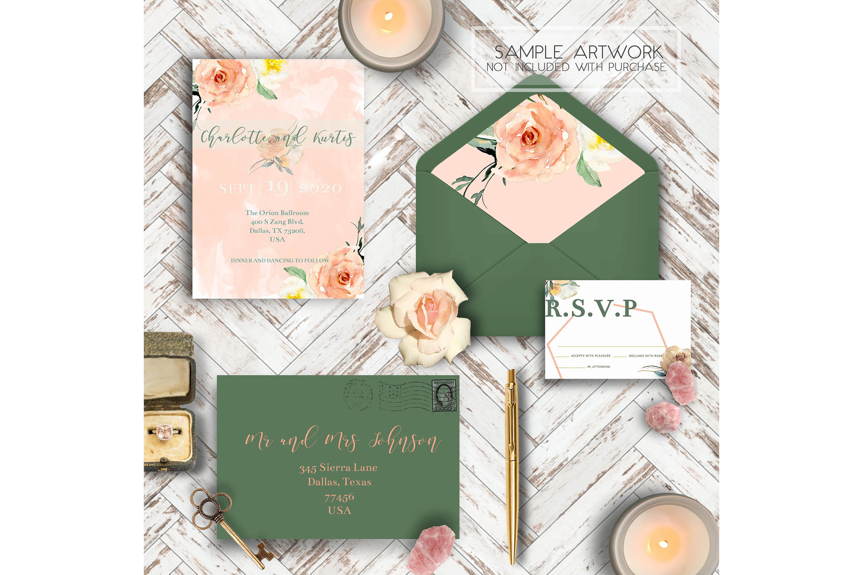 PSD Wedding Mockup/ Invitation Suite Mockup/ example image 5
