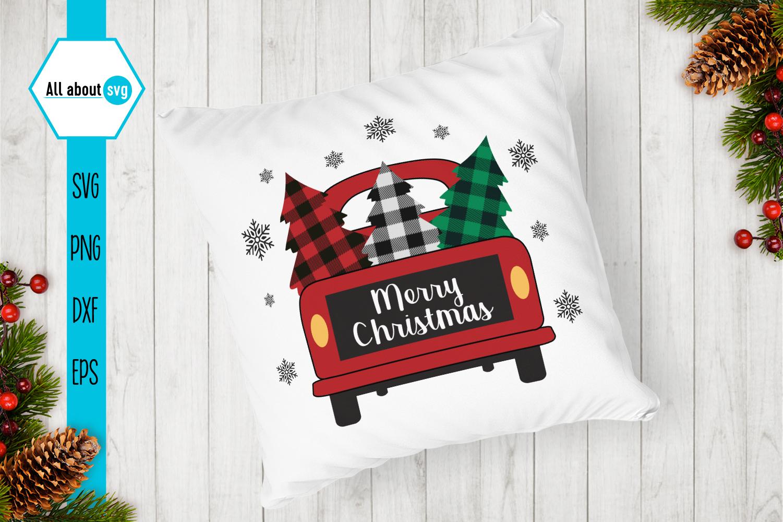 Merry Christmas Truck Buffalo Plaid Svg example image 3