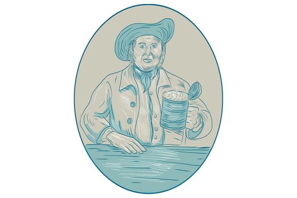 Gentleman Beer Drinker Tankard Oval Drawing example image 1