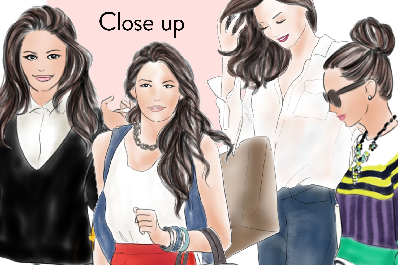 Shopping girls watercolour fashion illustration clipart example image 3