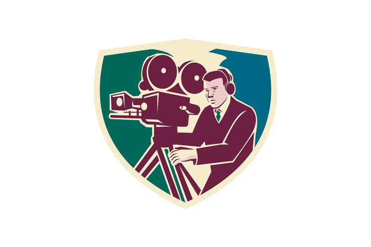 Cameraman Moviemaker Vintage Camera Shield example image 1
