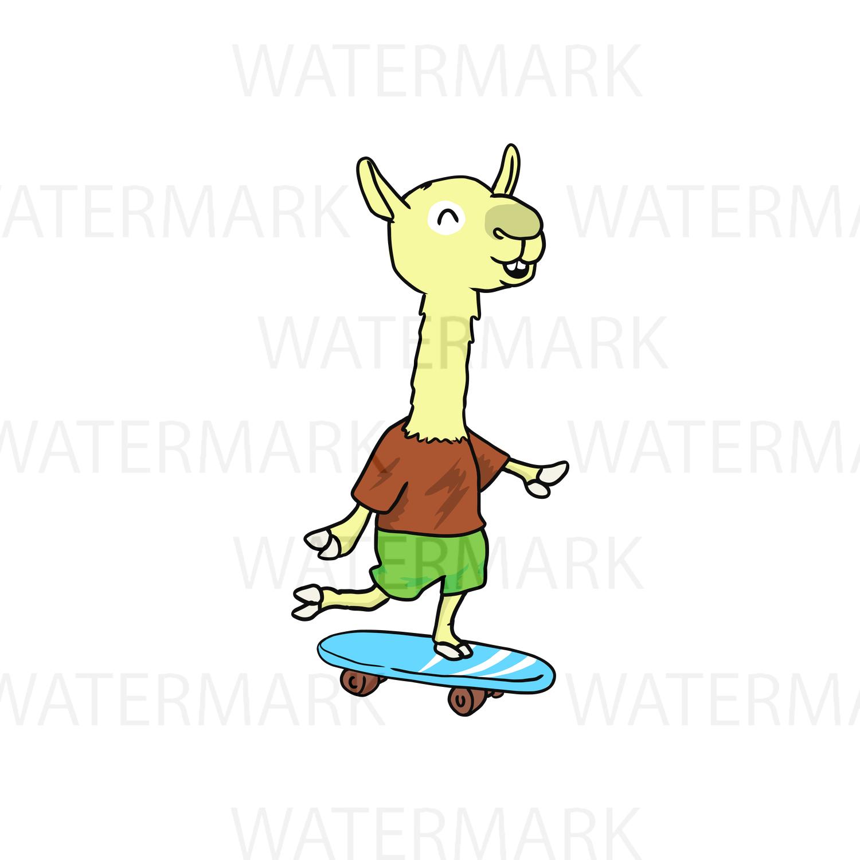 Llama playing skateboard - SVG/JPG/PNG - Hand Drawing example image 1